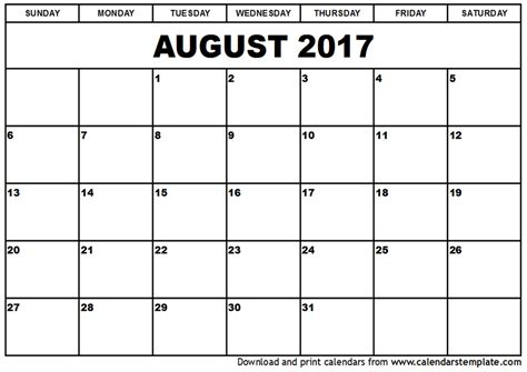printable calendar to write on 2017 august 2017 calendar printable template with holidays pdf