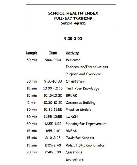 training agenda sle 7 documents in pdf
