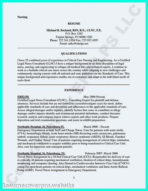 comprehensive resume sle for nurses comprehensive resume sle for nurses 100 images