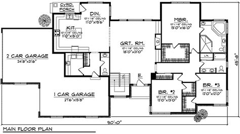 ranch floor plans with great room ranch with large great room windows 89235ah 1st floor