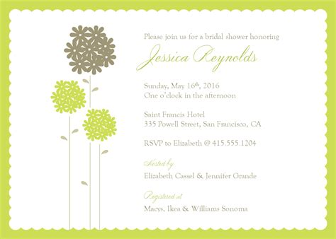 Template For Bridal Shower Invitation wedding shower invite template best template collection