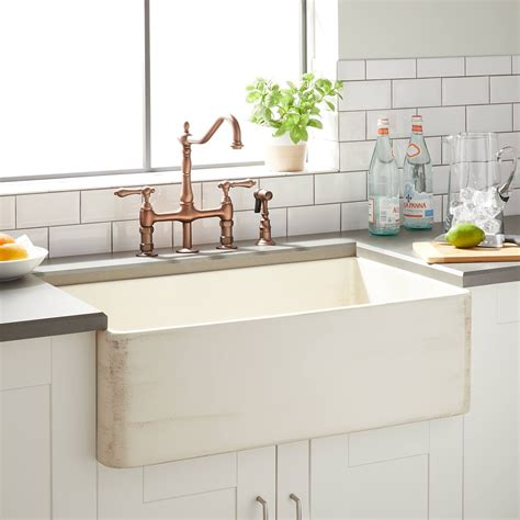 Fireclay Kitchen Sinks by 30 Quot Mancini Reversible Fireclay Farmhouse Sink