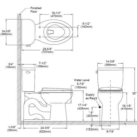 size of toilet dimension toilette standard obasinc com