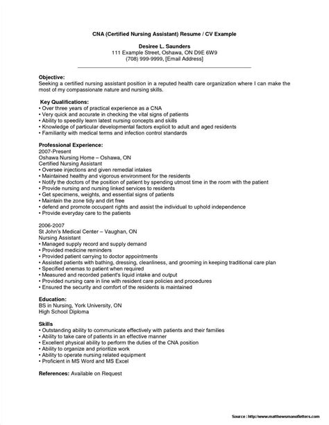 resume for cna job with no experience resume resume