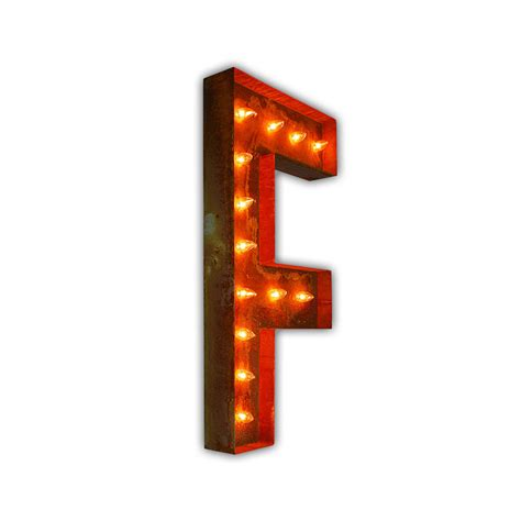 Rusty 36 Inch Letter F Marquee Light By Vintage Marquee Lights Marquee Lights