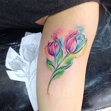 watercolor tulip tattoos watercolor tulip tattoos on bicep