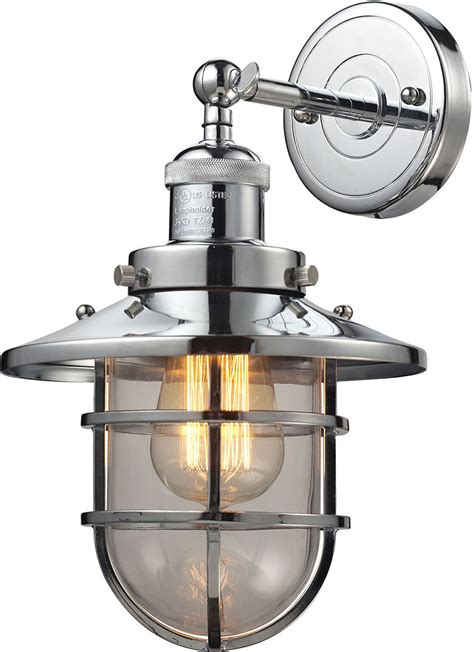 Nautical Vanity Light Elk 66346 1 Seaport Nautical Polished Chrome Sconce Lighting Elk 66346 1