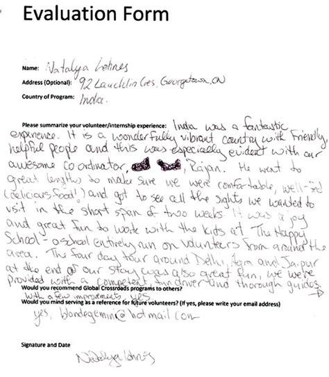 Volunteer Evaluation Letter Global Crossroad India Reviews India Volunteer Testimonies