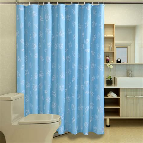 Seashell Shower Curtains Fabric Bathroom Shower Curtain Blue Seashell Starfish Pattern Hotel Home Decor In