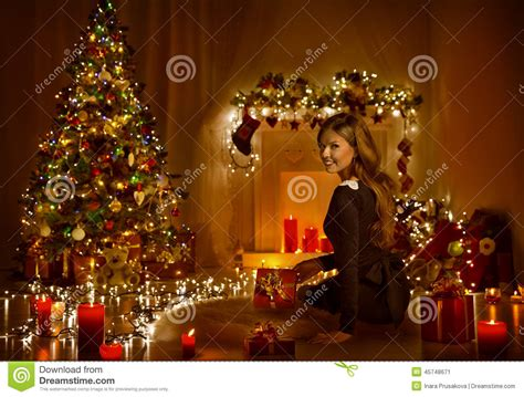 christmas illumination or christmas light open present gift box in room tree stock image image 45748671