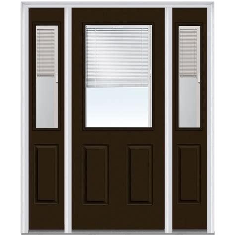 Exterior Doors With Blinds Doorbuild Mini Blinds Collection Steel Prehung Entry Door Brown 36 Quot X80 Quot 1 2 Lite