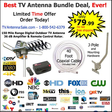 outdoor tv antenna bundle with rotor lifier j pole and 40 foot coaxial cable