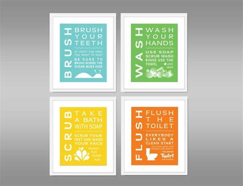 unisex bathroom ideas childrens bathroom print set of 4 home