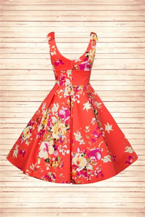 fisher price coral floral swing 50s ascot seville swing dress in coral