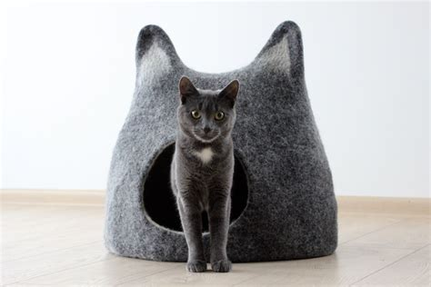 cat cave bed cat bed cat cave cat house handmade felted wool by agnesfelt
