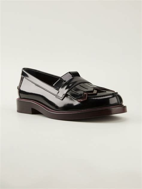 fringed loafers tod s fringed loafers in black lyst