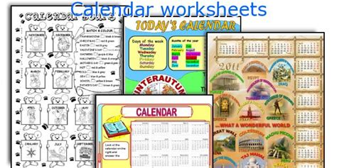 Calendar Vocabulary Teaching Worksheets Calendar