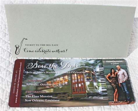 boarding new orleans new orleans streetcar boarding pass photo save the dates emdotzee designs