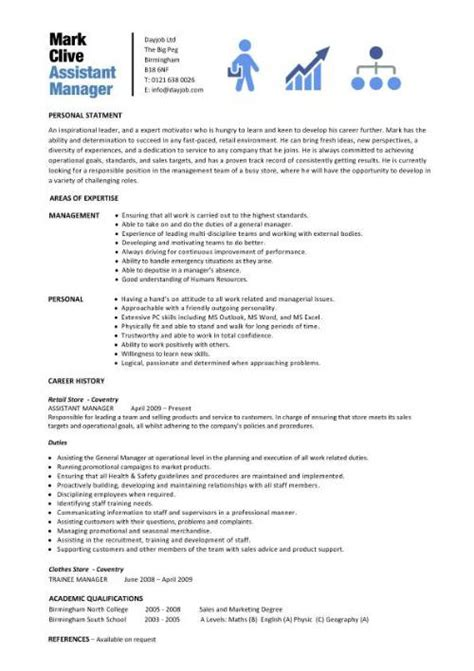 assistant manager description resume sle description in a resume fast help