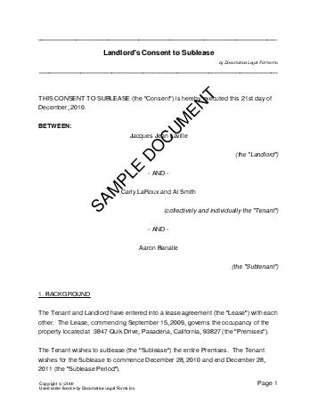 consent letter landlord landlords consent to sublease australia