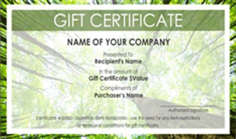 environmental non profit gift certificate templates easy