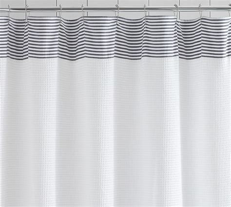 Pottery Barn Waffle Weave Shower Curtain by Striped Dobby Waffle Weave Shower Curtain Pottery Barn