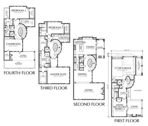 four story house plans numberedtype