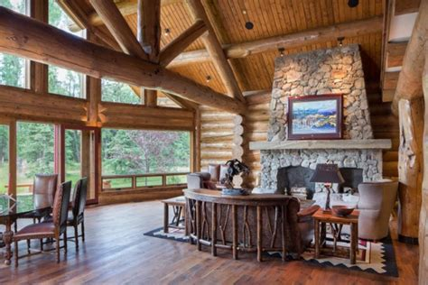 Log Cabin Home Interiors by Log Home Interiors Yellowstone Log Homes