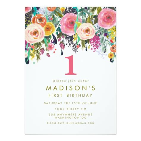 1st birthday invitations uk painted floral 1st birthday invite zazzle