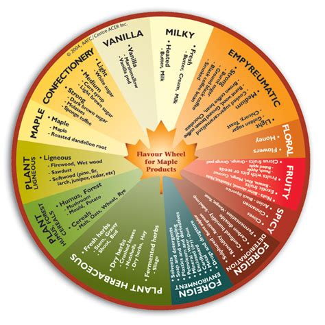 Flavour Wheel for Maple Products   Agriculture and Agri Food Canada (AAFC)