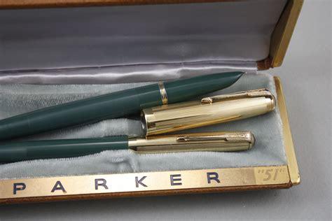 parker 51 hanss vintage pens a 1944 parker 51 nassau green double jewel set vintage