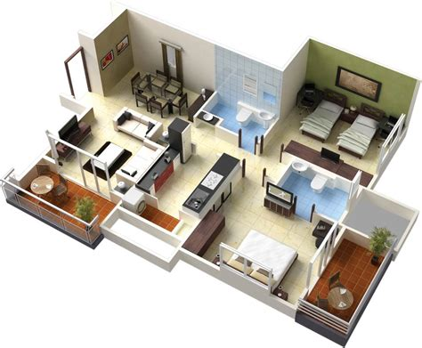 3d home decor design single floor house plans in 3d this for all