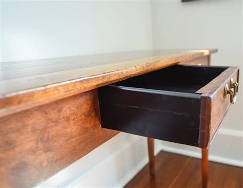 Wright Table Company by Wright Table Company Vintage Wood Console With Brass Pull