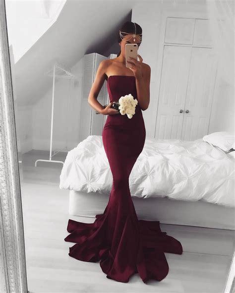 ghaida simple choker dress maroon strapless prom dress burgundy mermaid prom dress 2017