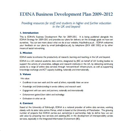 business development plan template exle plan template