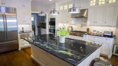 White Kitchen Design Ideas by Black Granite Countertops A Daring Touch Of