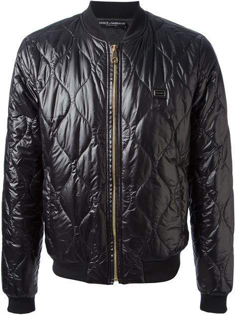 Black Quilted Bomber Jacket by Dolce Gabbana Quilted Bomber Jacket In Black For Lyst