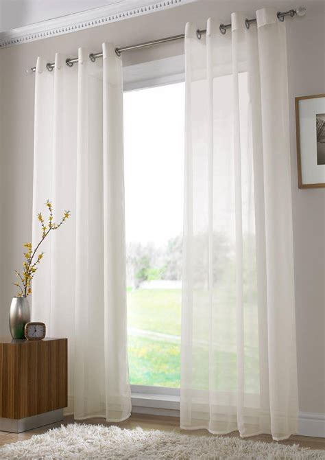 voile curtains ivory plain voile eyelet ringtop 150cm net curtain 2 curtains