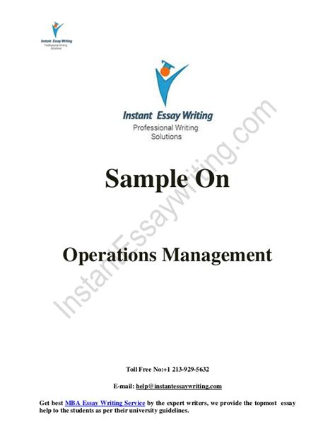 Best Operations Management Mba by Sle On Operations Management By Instant Essay Writing