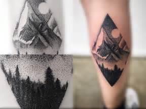 mountain scene tattoo dotwork mountain scene tattoo