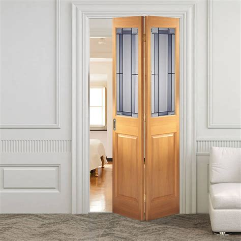 Folded Doors Interior Interior Bifold Door Oak Bi Fold With Alderley Design Safety Glass