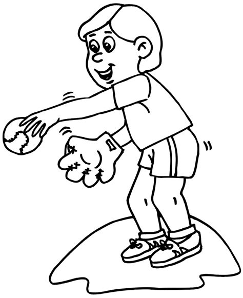 baseball coloring page little boy throwing baseball az