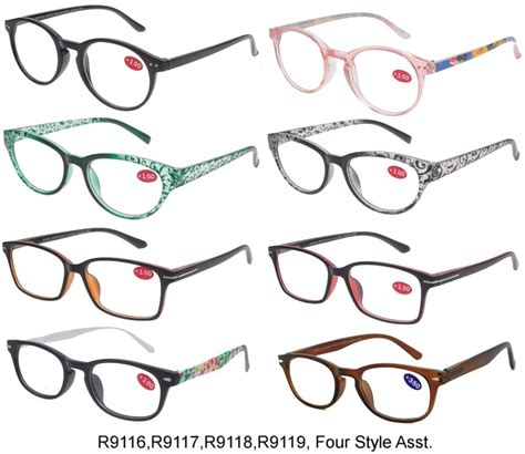 cooleyes plastic reading glasses 4 style asstd