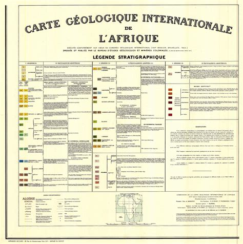 bureau 馗ologique carte g 233 ologique internationale de l afrique l 233 gende