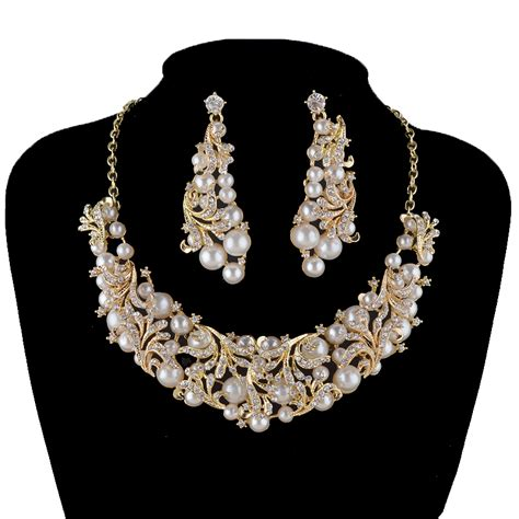 fashion korean pearl necklace earrings bridal jewelry sets