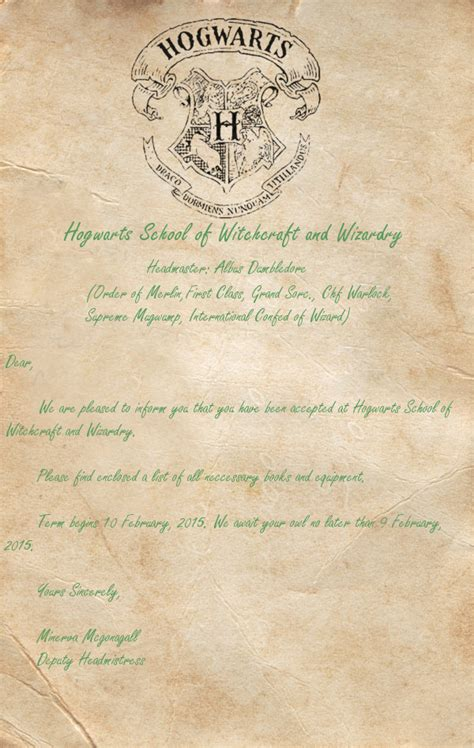 Harry Potter Acceptance Letter Print Hogwarts Acceptance Letter Template Cyberuse
