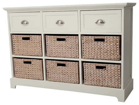 Dresser With Baskets by Gallerie Decor Newport 3 Drawer 6 Basket Table