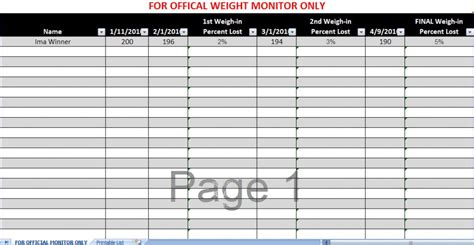 weight template loser weight in chart