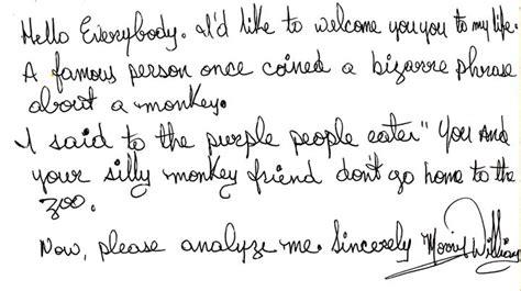 morris handwriting sample video tomorrow