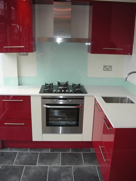 Glamorous Red Kitchen Cabinets Added White Countertop And